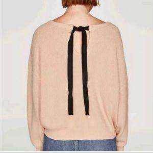 Zara Knit Ribbed Tie Bow Back Ribbed Knit Sweater